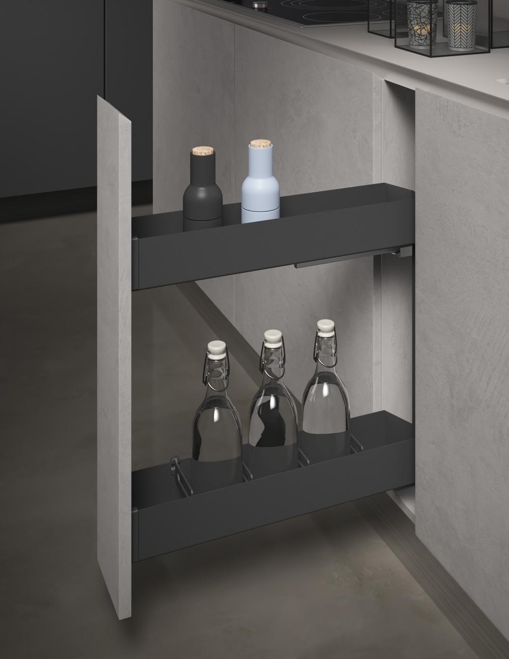 Бутылочница Pro Line для нижнего шкафа, полное выдвижение с Soft-Close, в шкаф 150мм 110х505х515