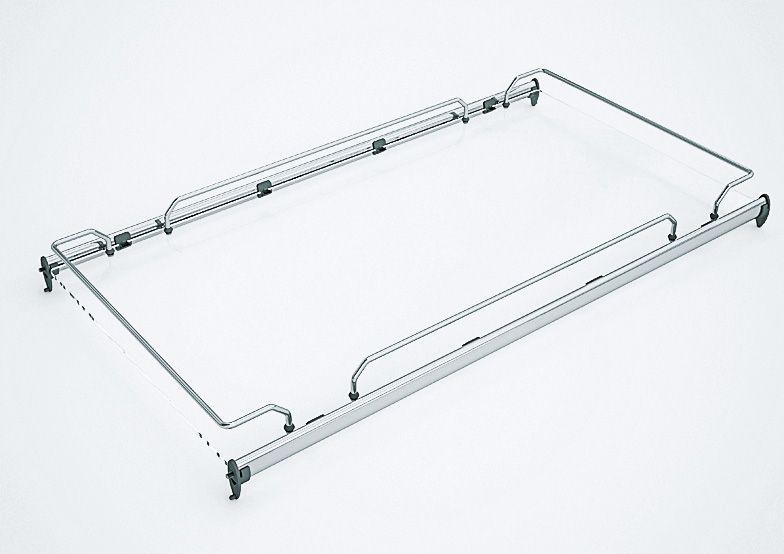 Полка Elegance Railing стационарная из стекла с хромированным бортом и релингами 564*440*85