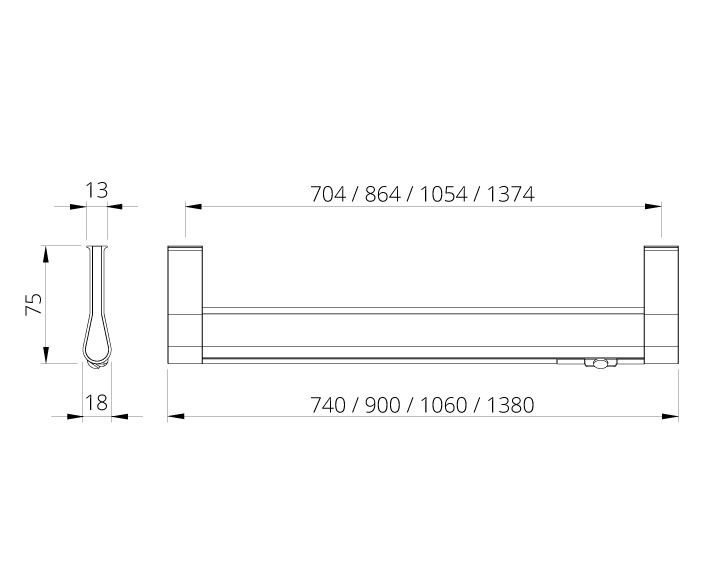 Светильник светодиодный Goccia HE IFR, 12,8Вт, 24В, свет натуральный алю, 900х78х18мм