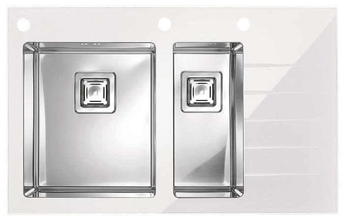 Мойка Crystalix 20, левая, белый 860х540x211