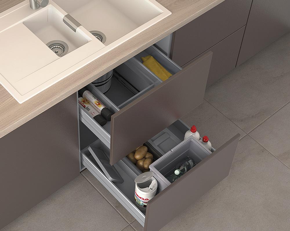 Atelier 60 - нижний ящик, направляющие DynaPro Grass, для ДСП 18мм 558х492х113мм, профиль серебро