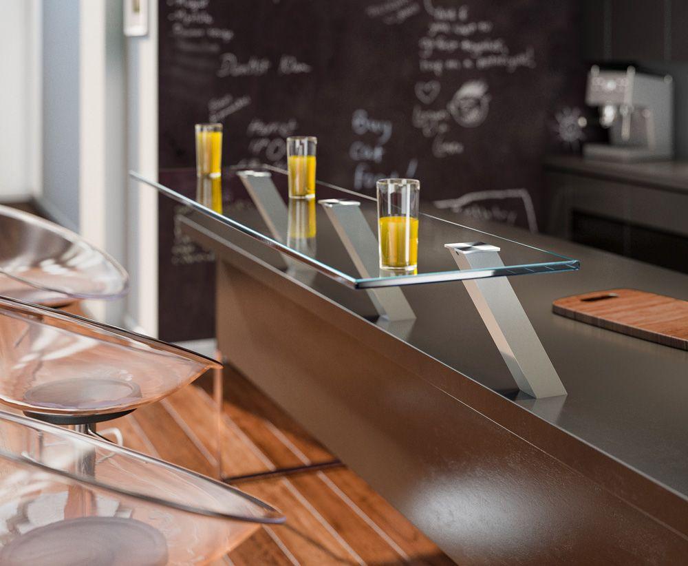 Опора для полки Capri inc наклонная, высота 190 мм алюминий, цвет нерж. сталь