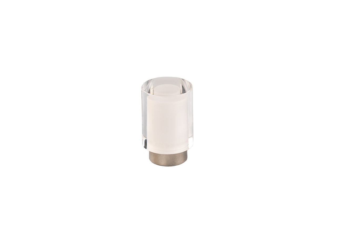 Мебельная ручка Union Knopf Duron белый в прозр.пластике Durohorn/никель глянец