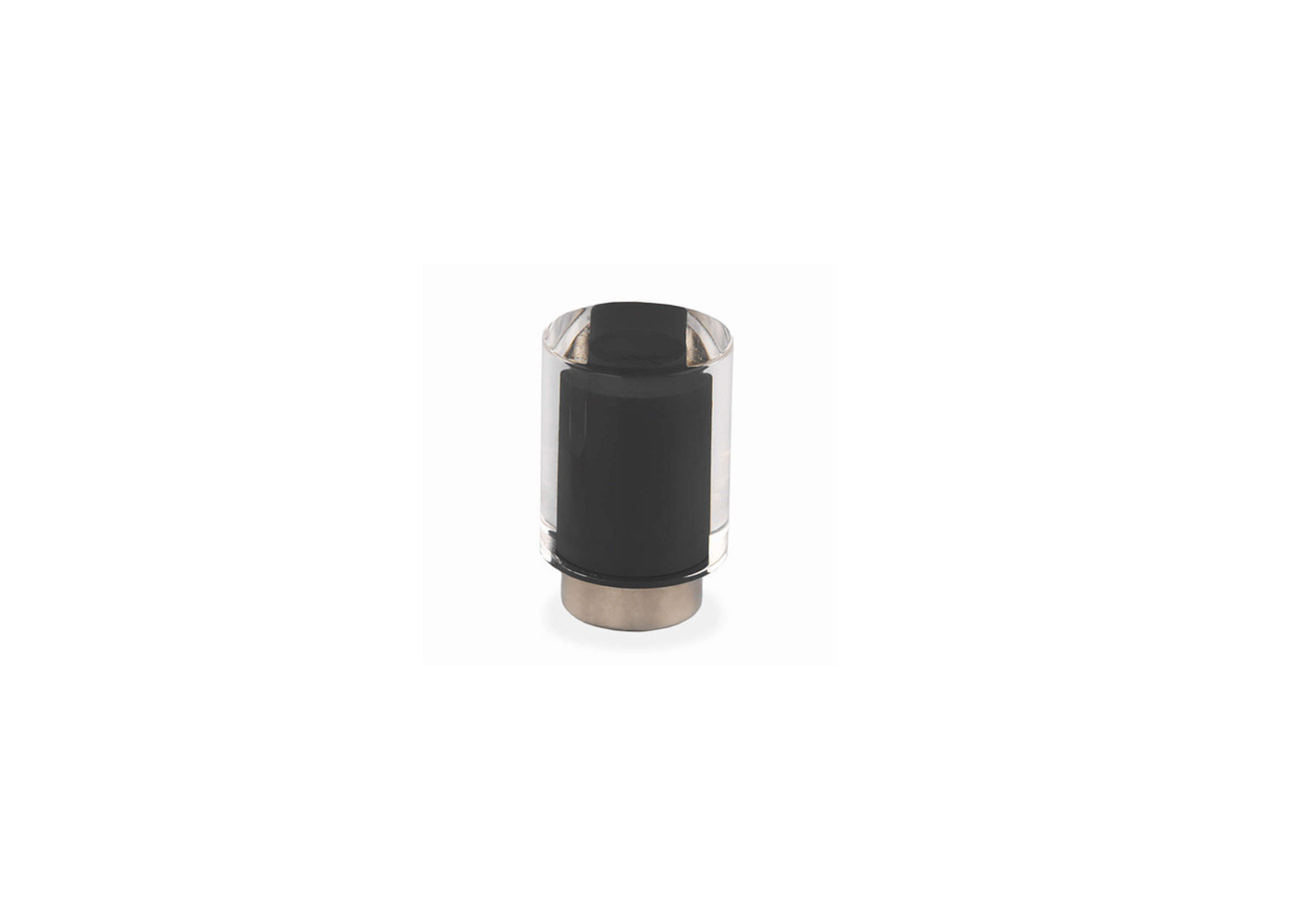 Мебельная ручка Union Knopf Duron черный в прозр.пластике Durohorn/никель глянец
