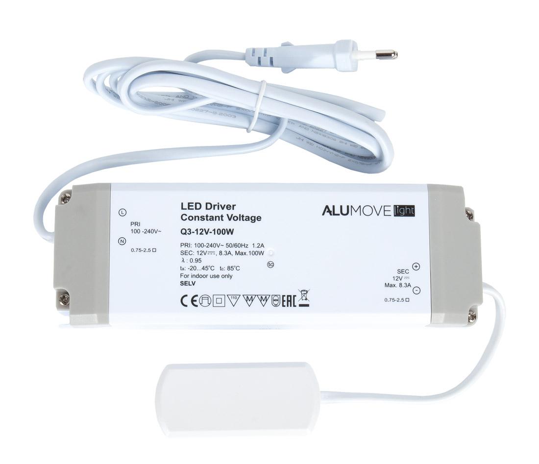 Трансформатор Alumove Light Q3-12V/100W, с распред.коробкой на 12 разъемов MiniPlug, кабель 2м