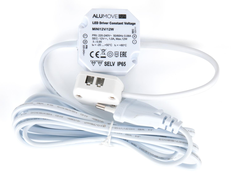 Трансформатор Alumove Light UT12V/12W, IP65, с распред.коробкой на 12 разъемов MiniPlug, кабель 2м