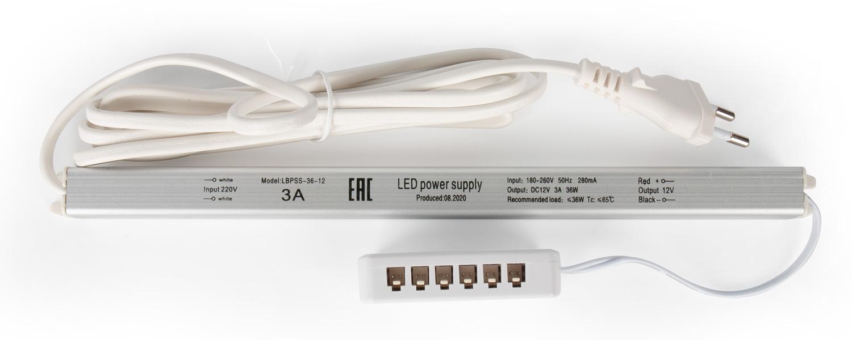 Трансформатор Alumove Light Slim 12V/36W, с распред.коробкой на 6 разъемов MiniPlug, кабель 2м