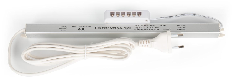 Трансформатор Alumove Light Slim 12V/48W, кабель 2м с евровилкой, распределительная коробка на 6 разъемов.