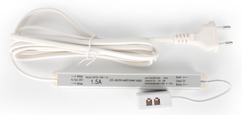 Трансформатор Alumove Light Slim 12V/18W, кабель 2м с евровилкой, распределительная коробка на 4 разъема.