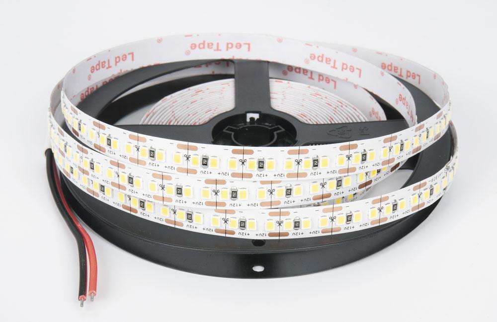 LED лента IP20 открытая, 8мм, 120 LED/м,  48Вт, 12В, 5м в кат., кабель 150мм теплый