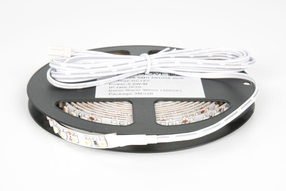 LED лента IP20 открытая, 8мм, 120 LED/м,  28Вт, 12В, 3м в кат., кабель пит. 2м с разъемом mini-plug натуральный