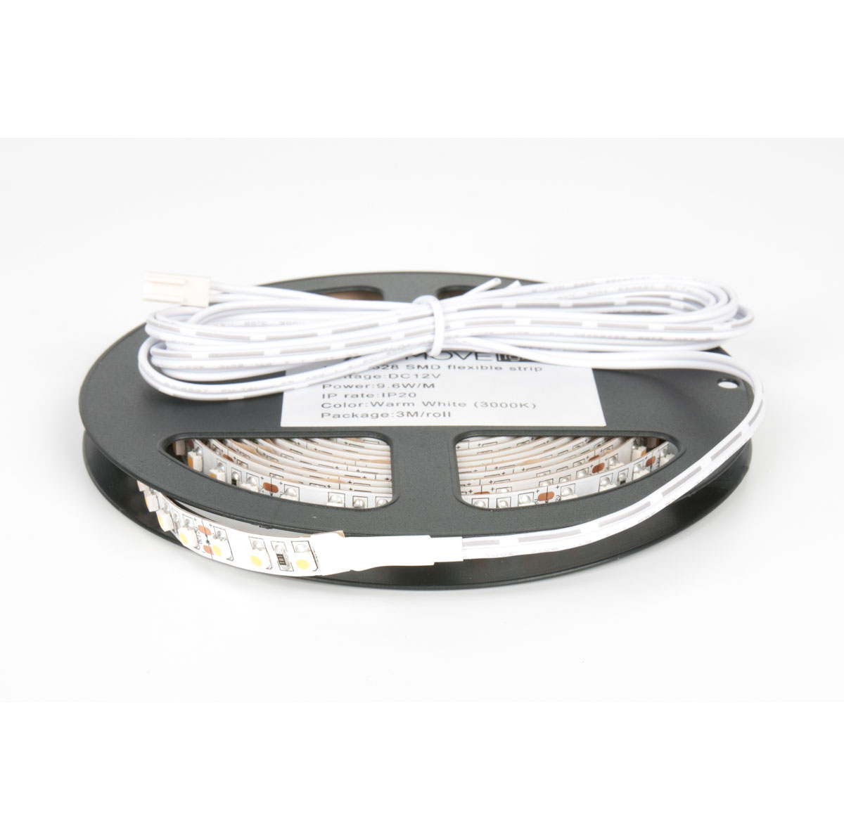 LED лента IP20 открытая, 8мм, 120 LED/м,  28Вт, 12В, 3м в кат., кабель пит. 2м с разъемом mini-plug теплый