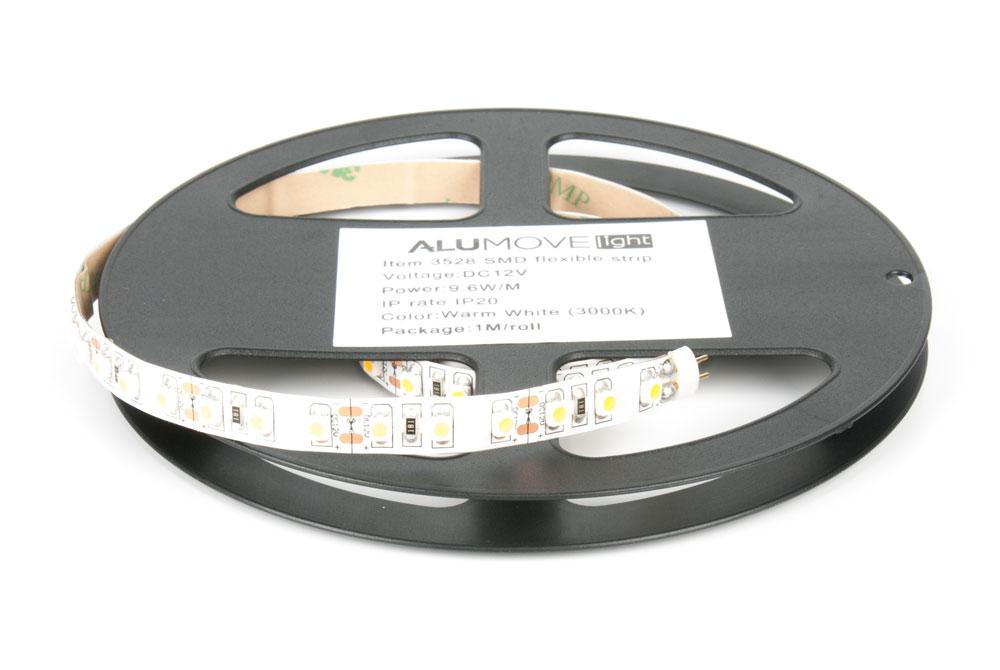 LED лента IP20 открытая, 8мм, 120 LED/м,  9,6Вт, 12В, 1м в кат., на кон.ленты разъемы папа/мама теплый