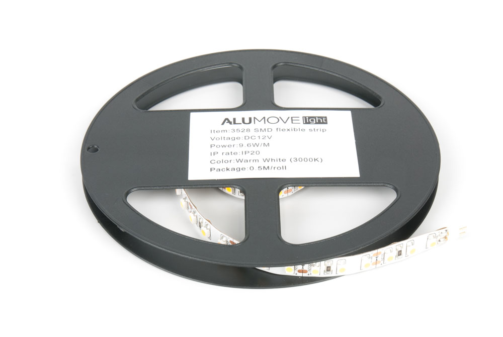 LED лента IP20 открытая, 8мм, 120 LED/м, 4,8Вт, 12В, 0,5м в кат., на конц.ленты разъемы папа/мама натуральный