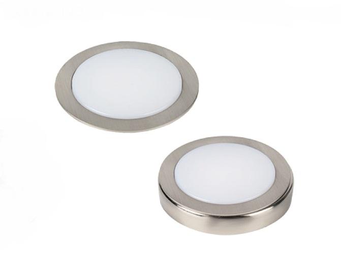 Светильник LUCAS 3Вт, 24В, с кольцом для накл. монтажа, кабель 2м, свет теплый нерж. сталь