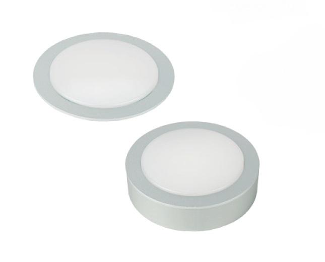 Светильник LUCAS 3Вт, 24В, с кольцом для накл. монтажа, кабель 2м, свет теплый алюминий