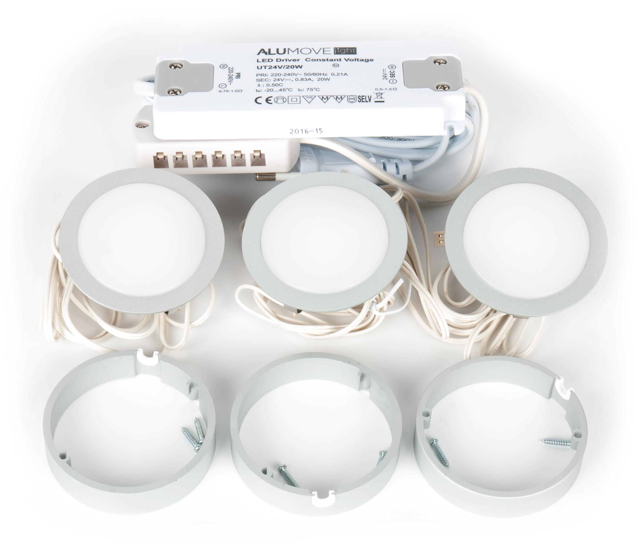 Светильник LUCAS Set3, комплект 9Вт, 24B, 3 каб. 2м с раз.MiniPlug, трансформатор алюминий/свет теплый