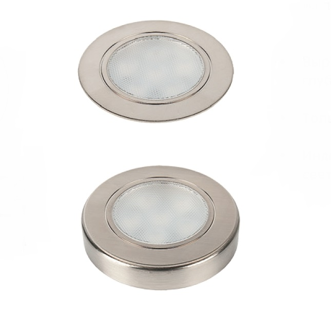 Светильник FOCUS 1,65Вт, 12В, с кольцом для накл.монтажа, кабель 2,5м, свет натуральный нерж. сталь