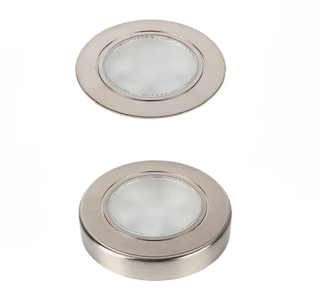 Светильник FOCUS 1,65Вт, 12В с кольцом для накл. монтажа, кабель 2,5м, свет теплый нерж. сталь