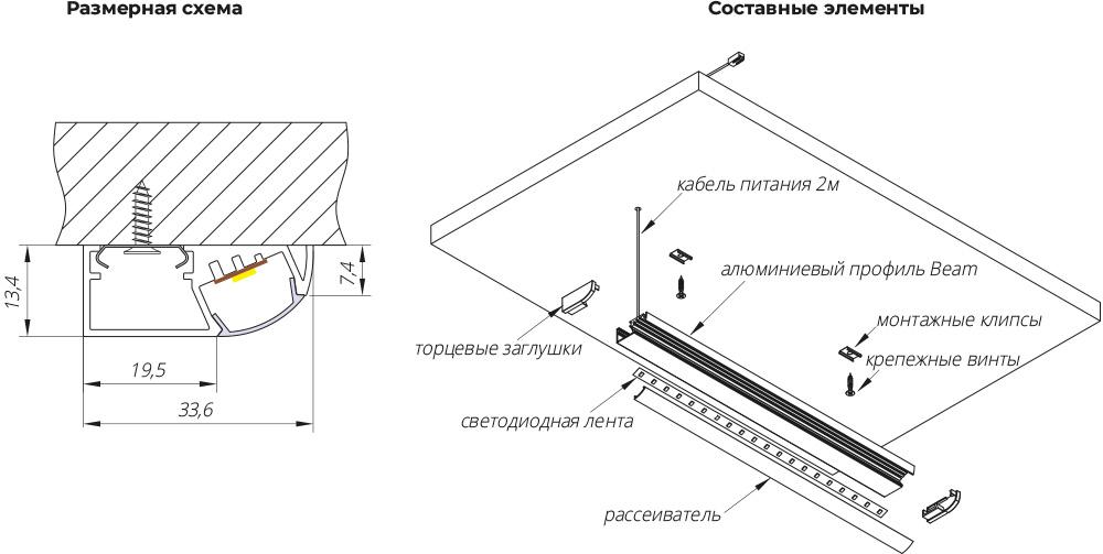 Светильник BEAM HF -  900мм, 9Вт, 12В, встроенный Hands Free сенсорный модуль, торцевые заглушки в цвет профиля, кабель 2м с разъемом MiniPlug для подключения к трансформатору, крепежные клипсы, трансформатор. антрацит