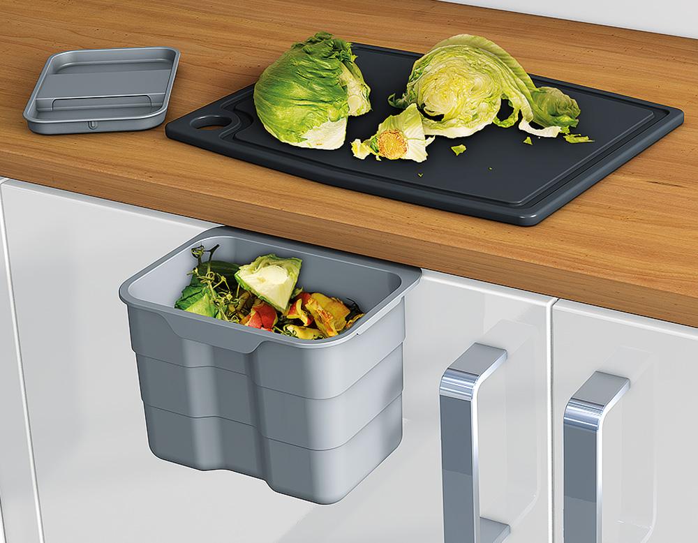 Контейнер для мусора Biobin c крышкой, 4,2 л, серый 227*172*170 мм