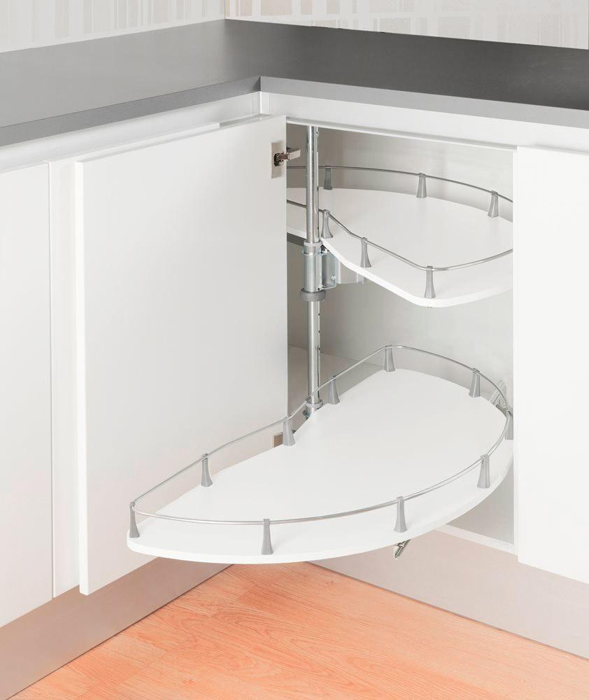 Выкатная карусель 1/2 в шкаф 900ммм, ширина дверцы 500-600 мм (вместо арт. 5582) белый/хром