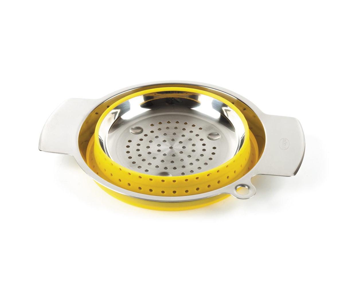 Коландер Roesle 24см нерж.сталь/силикон (желтый)