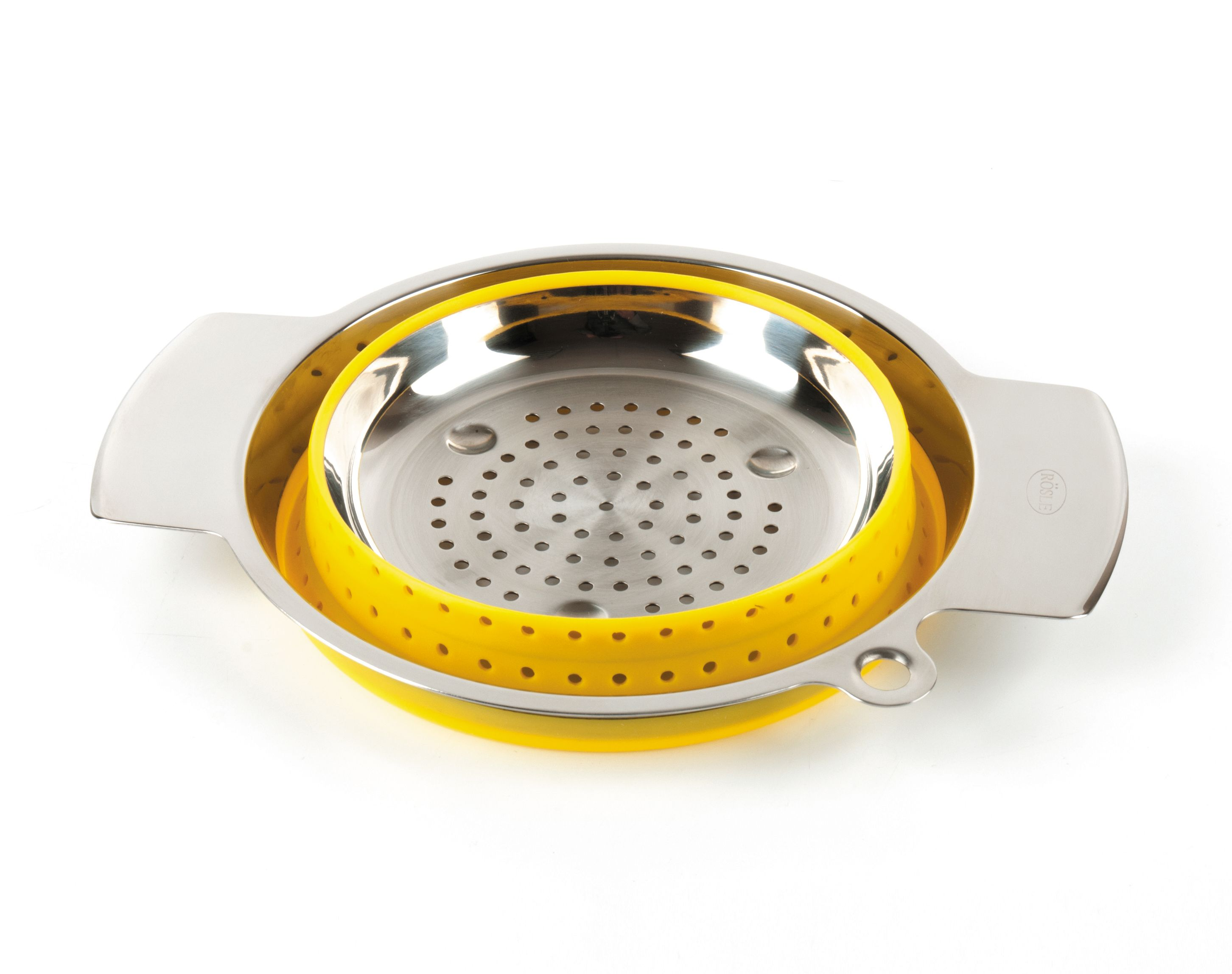 Коландер Roesle 20см нерж.сталь/силикон (желтый)