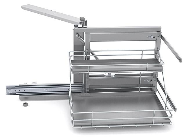Выдвижная система Shelf Inox правая со стальными поддонами в шкаф 50см, Soft-Close 415*500