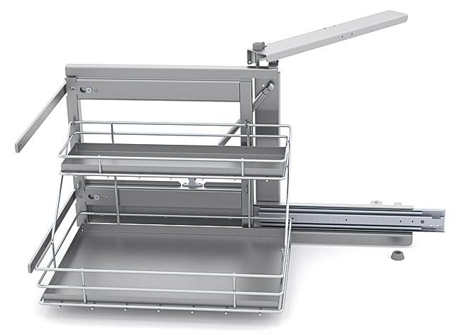 Выдвижная система Shelf Inox левая со стальными поддонами в шкаф 50см, Soft-Close 415*500