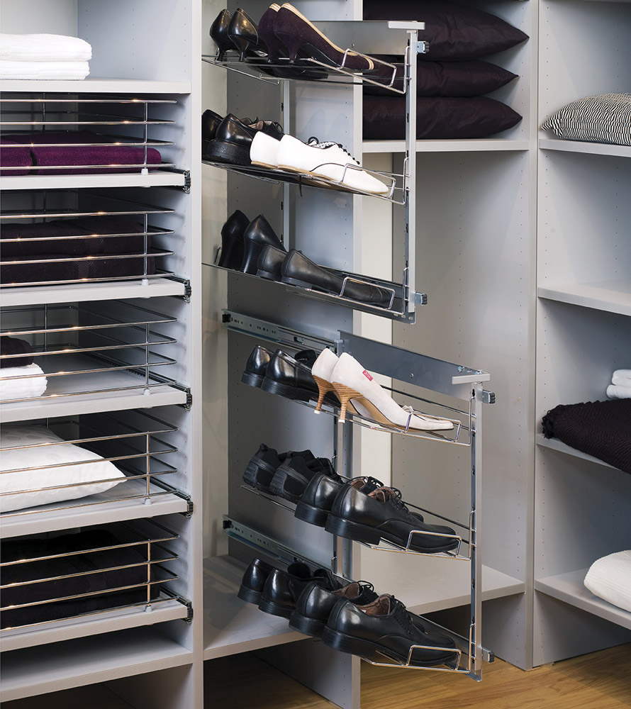 Выкатная система для хранения обуви хром