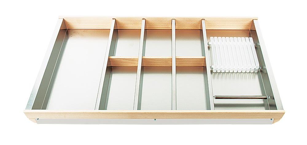Лоток для столовых приборов Cassetto Portaposate+Portacotelli 90 B50 нерж.сталь+бук