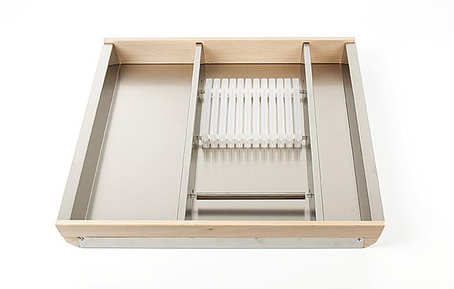 Лоток для столовых приборов Cassetto Portacotelli 60, B50 нерж.сталь+бук