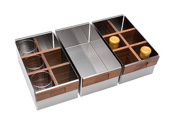 Комплект из 3-х контейнеров Fineline темн.орех, нерж.сталь, 448х264х151 мм