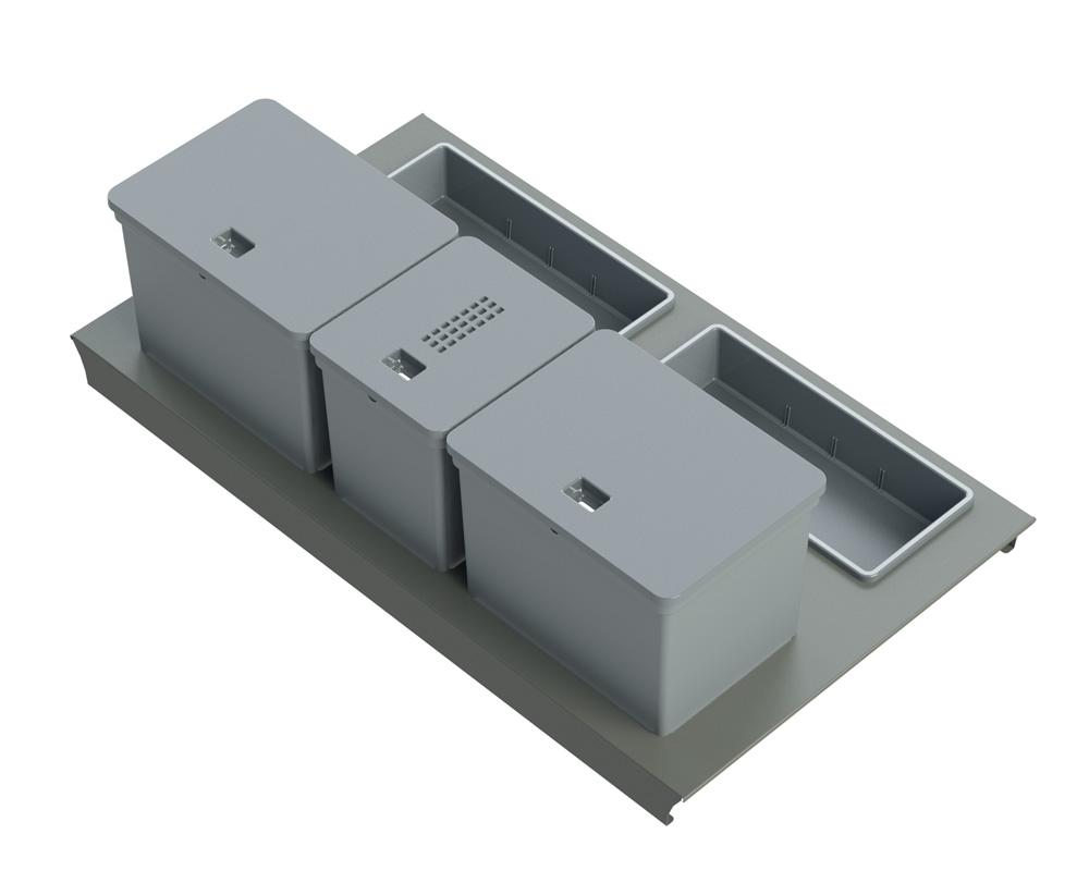Система Kit da cassetto mini  90, B45 Legrabox  c/vaschetta,  1х6л, 2х10л, 2 лотка