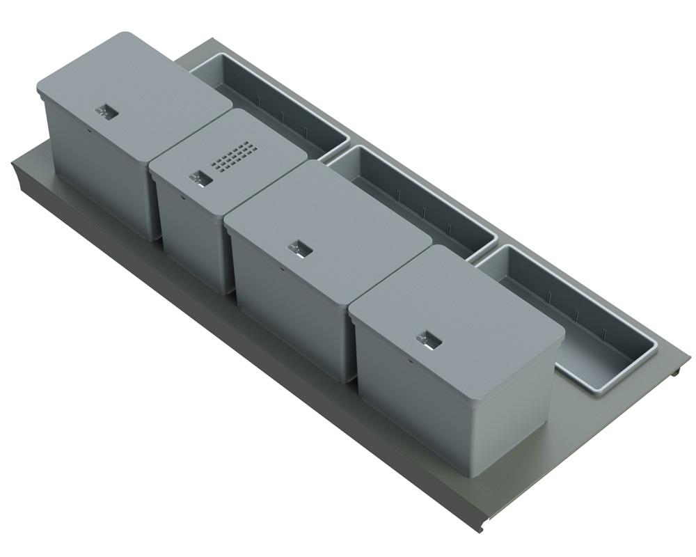 Система Kit da cassetto mini 120, B45 Legrabox  c/vaschetta,  1х6л, 3х10л, 3 лотка