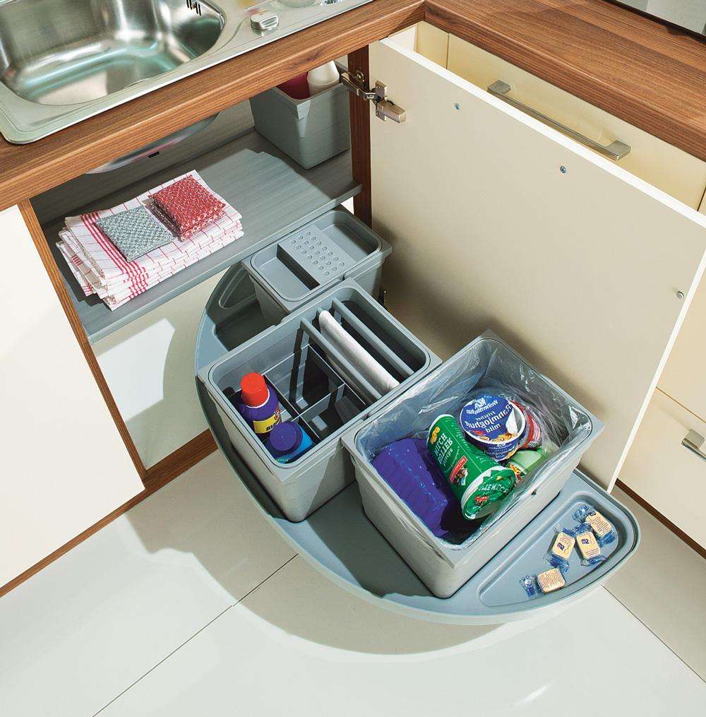 Выдвижная система eins2slide с 3-мя ведрами в угловой шкаф 1000 мм, левый серый