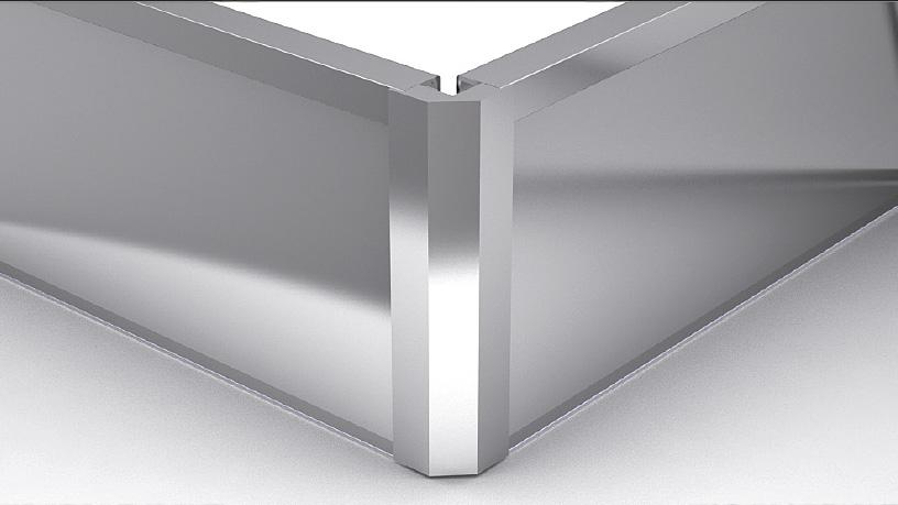 Внешний угол для цоколя ZLEDH100 под LED подсветку, h100 алюминий
