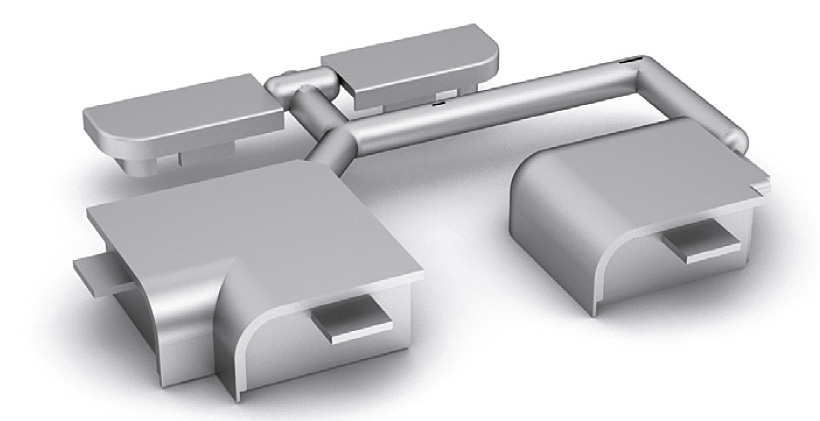 Комплект заглушек и уголков для ALZATINA D620 серебристый пластик