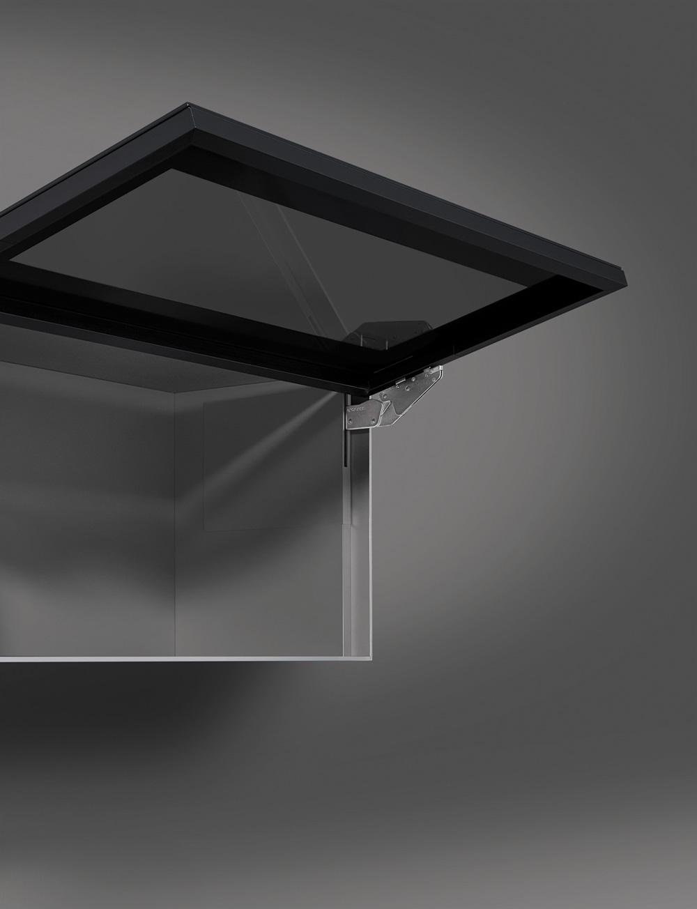 Подъемник Kinvaro T-Slim для фасада из алюм. рамки, КМ 1000-2250, с открытием от нажатия, графит