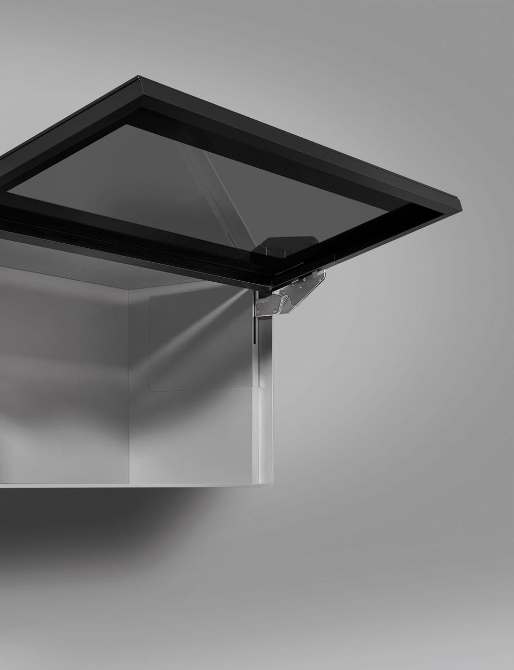 Подъемник Kinvaro T-Slim для фасада из алюм. рамки, КМ 1000-2250, с открытием от нажатия, серый