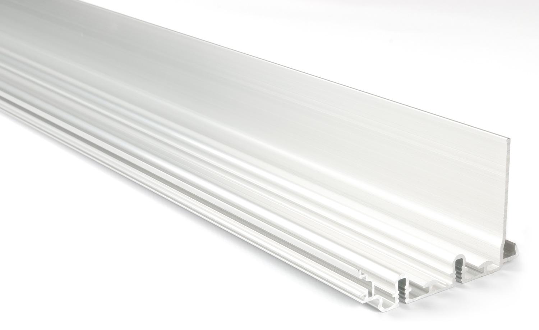 Верхний профиль L=2000мм Glow+ (под декор.планку, для установки с клипсами) алю, серебро
